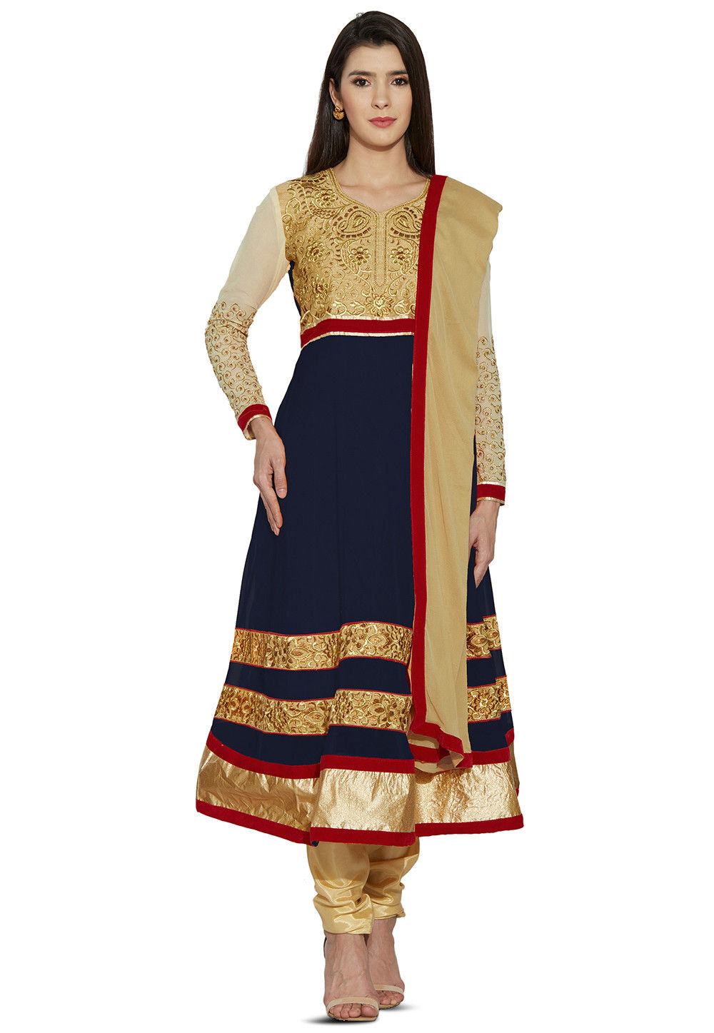Embroidered Georgette Anarkali Suit in Navy Blue