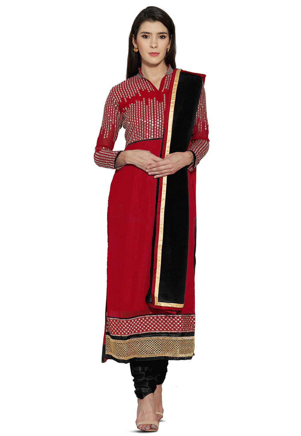 Embroidered Georgette Straight Suit in Red