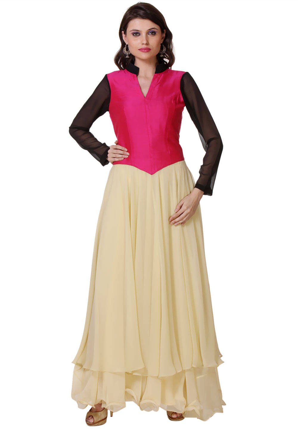Plain Georgette Abaya Style Suit In Beige And Fuchsia