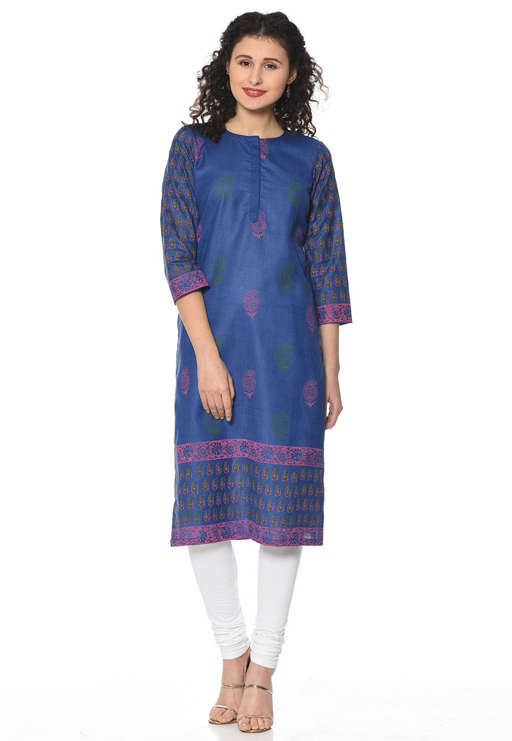 Block Printed Cotton Straight Suit in Blue