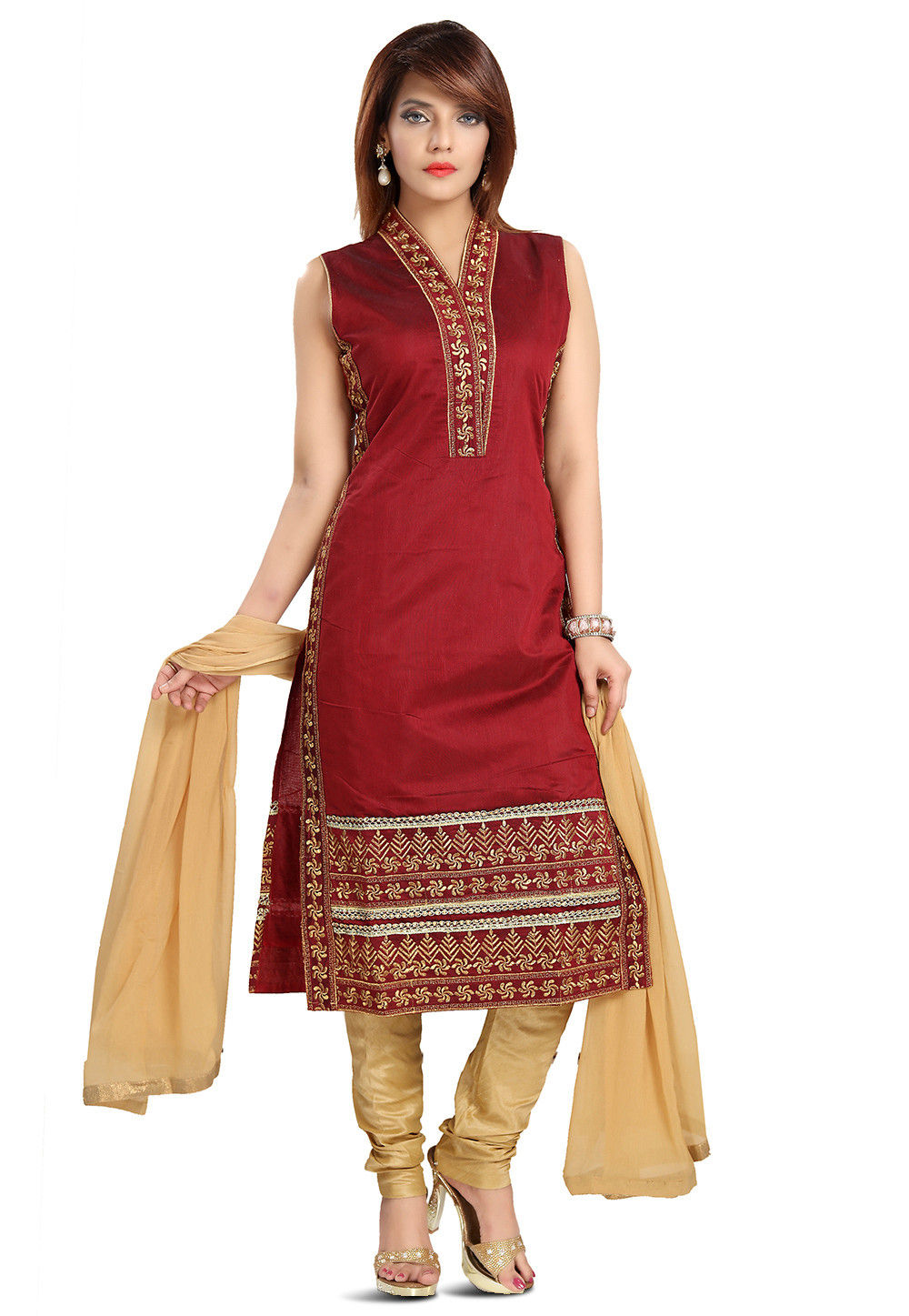 Embroidered Art Silk Straight Suit in Maroon