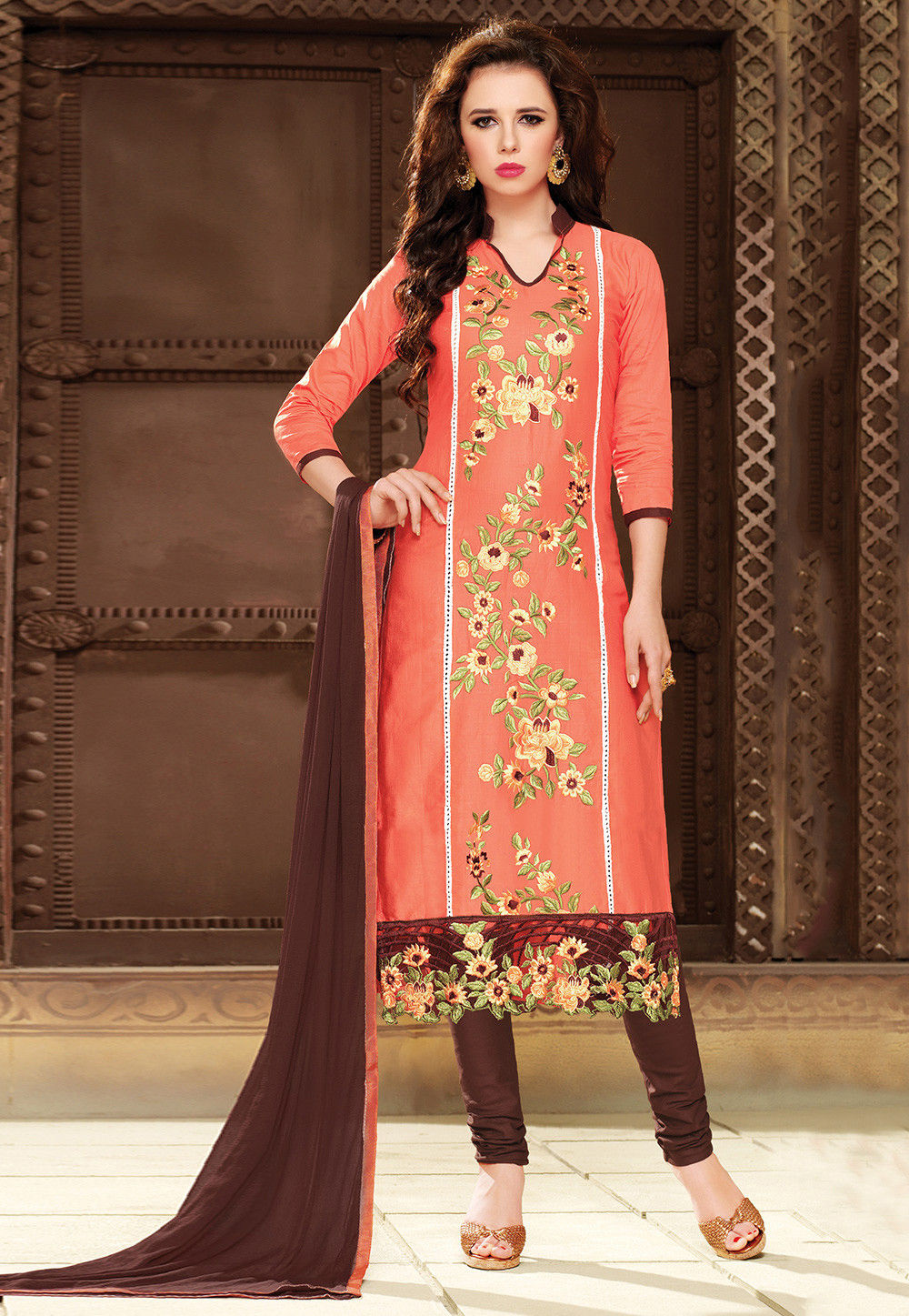 Embroidered Poly Cotton Straight Cut Suit in Orange