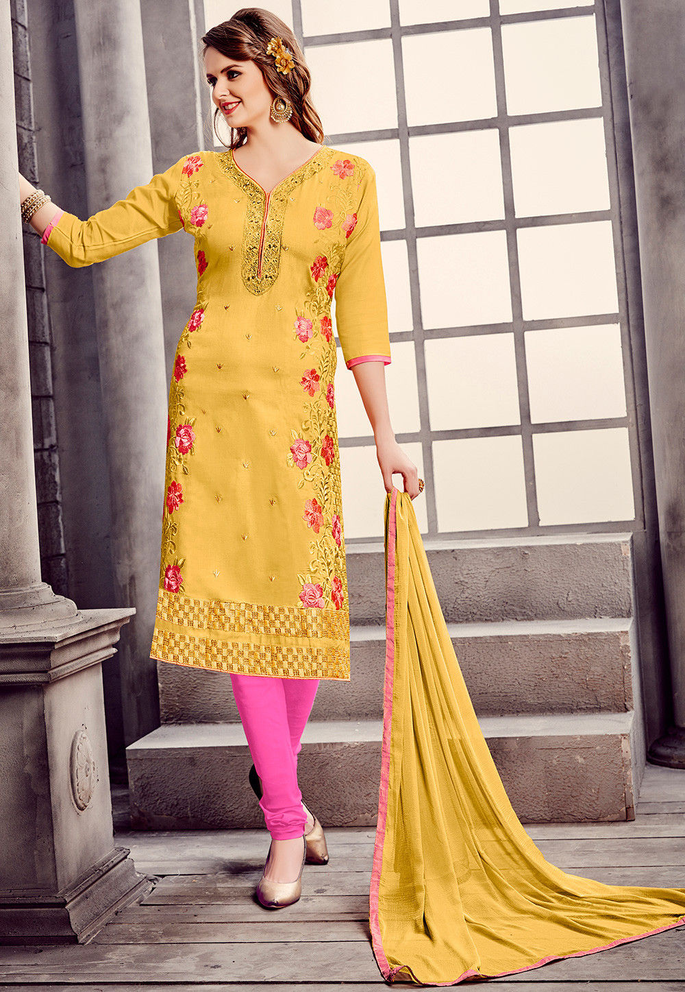 Embroidered Cotton Straight Suit in Yellow