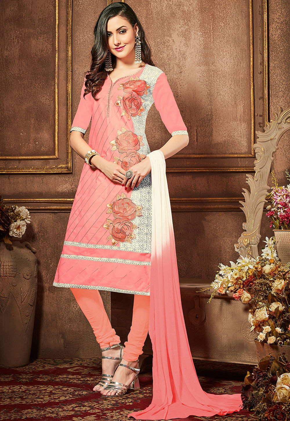 Embroidered Poly Cotton Straight Cut Suit in Peach