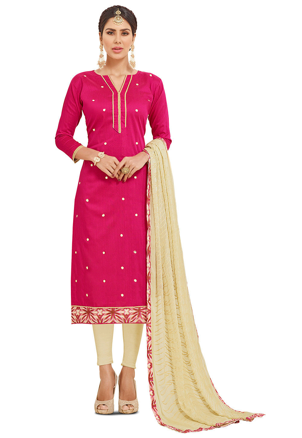 Embroidered Art Silk Straight Suit in Fuchsia