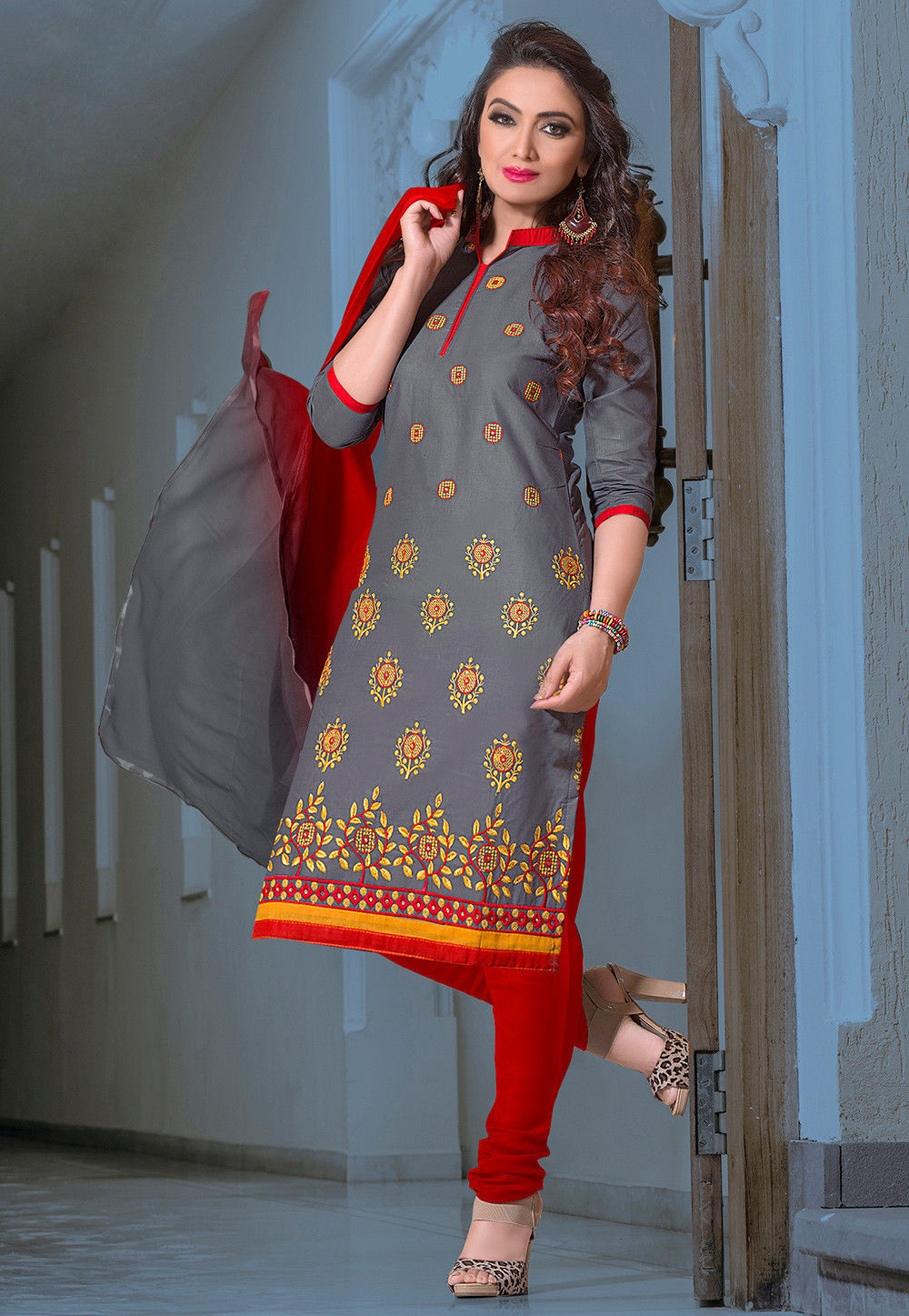 946e9d6fa9 Embroidered Poly Cotton Straight Cut Suit in Grey : KYE532