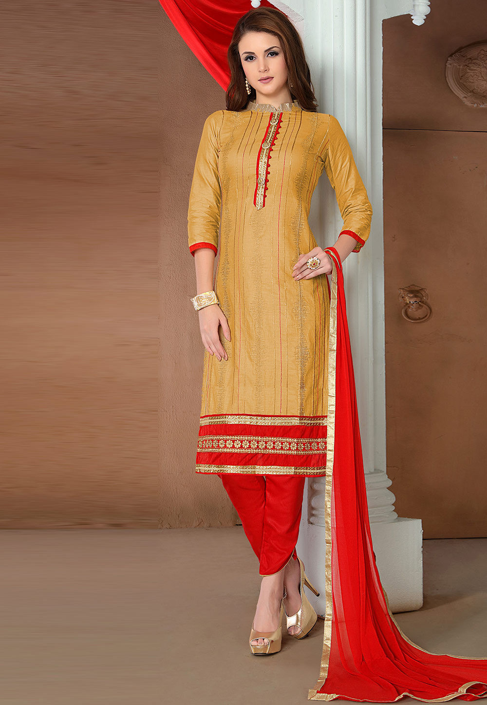 Embroidered Cotton Straight Suit in Old Gold