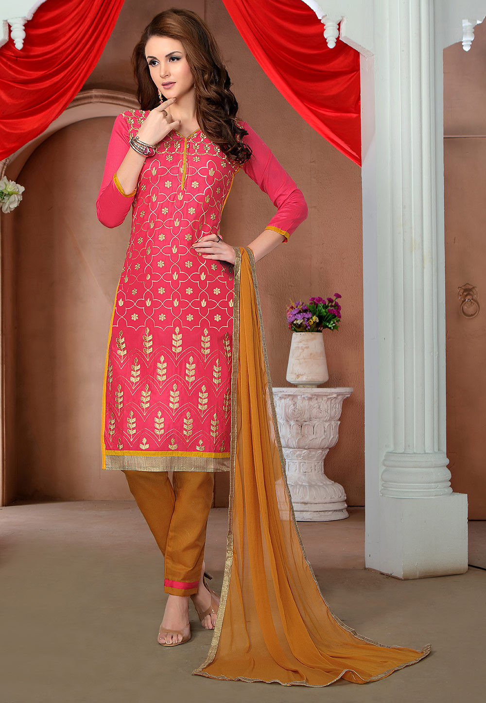 Embroidered Cotton Straight Suit in Fuchsia