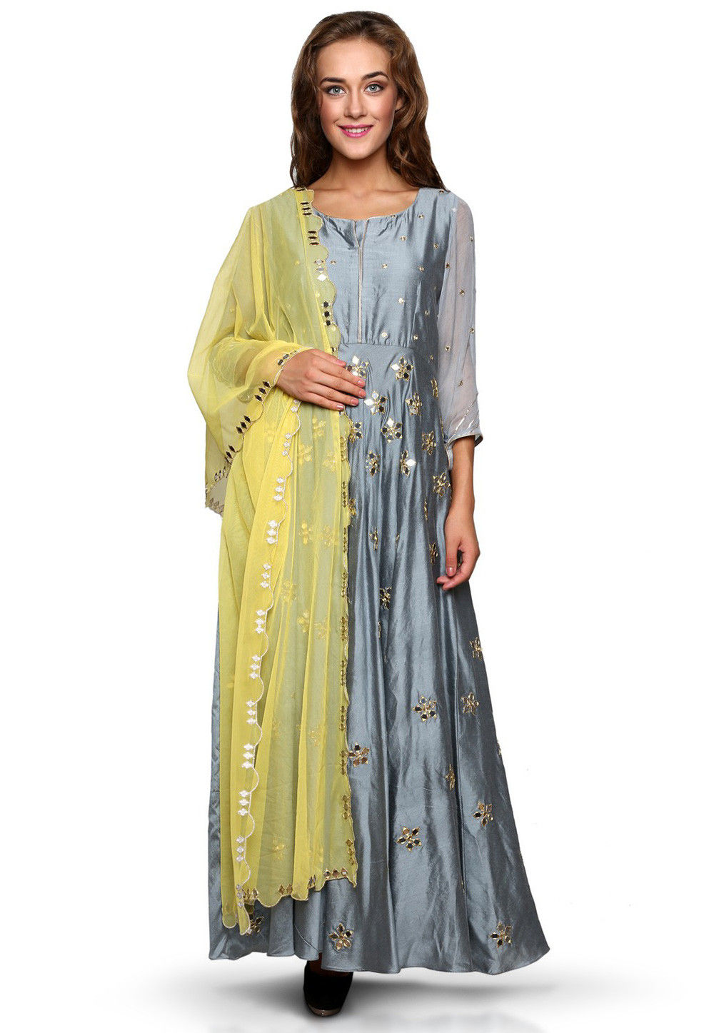 Embroidered Cotton Silk Abaya Style Suit in Grey