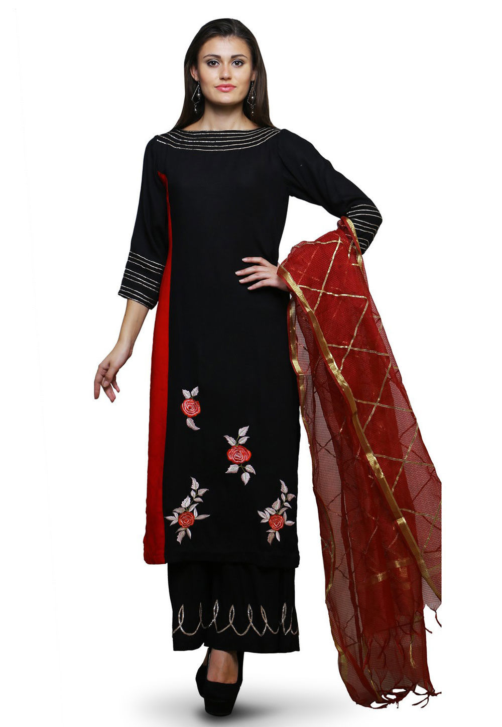 Embroidered Cotton Rayon Pakistani Suit in Black