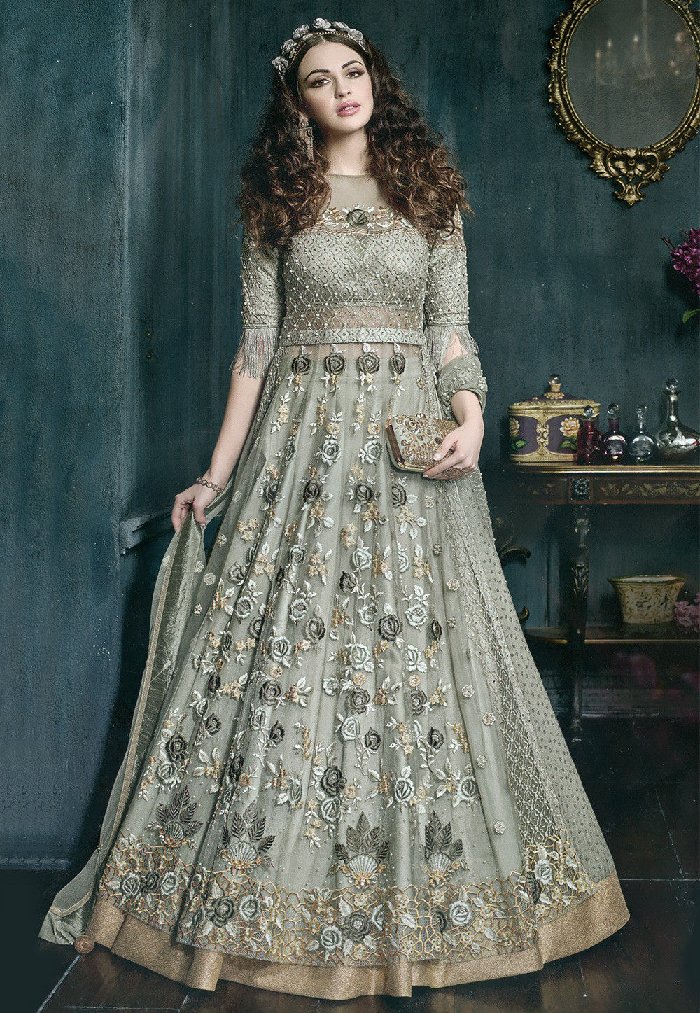 Embroidered Net Lehenga In Dusty Green Lcc148