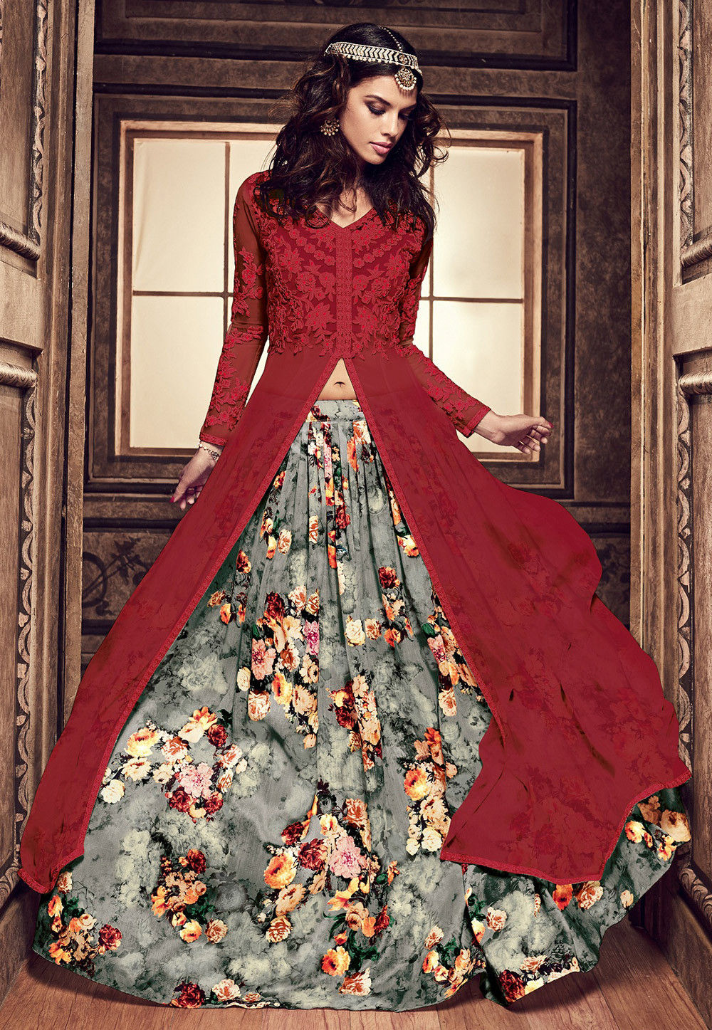 Embroidered Georgette Jacket Style Kameez with Lehenga in Maroon