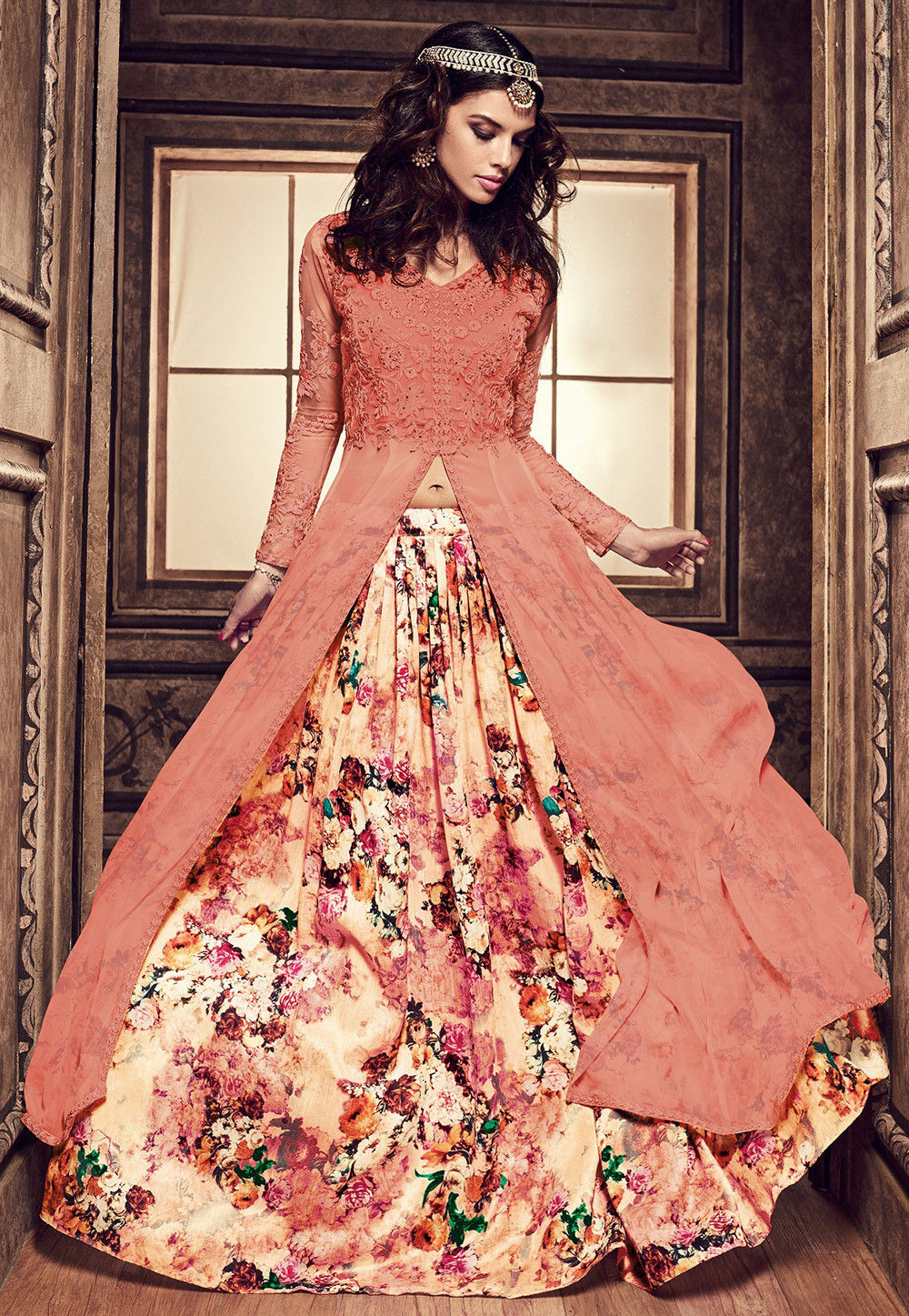 Embroidered Georgette Jacket Style Lehenga In Peach Lcc67