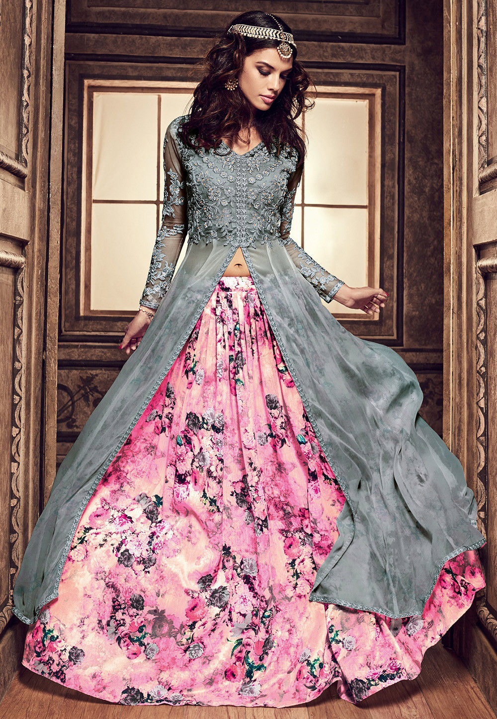 Embroidered Georgette Jacket Style Lehenga In Grey And