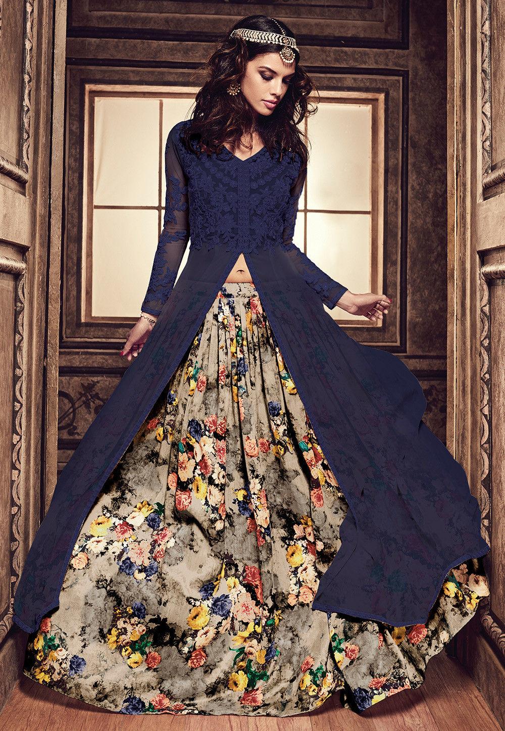 Digital Printed Art Silk Jacket Style Lehenga in Blue and Beige