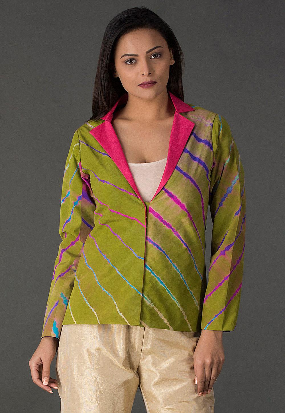 Lehariya Printed Pure Crepe Jacket in Light Green