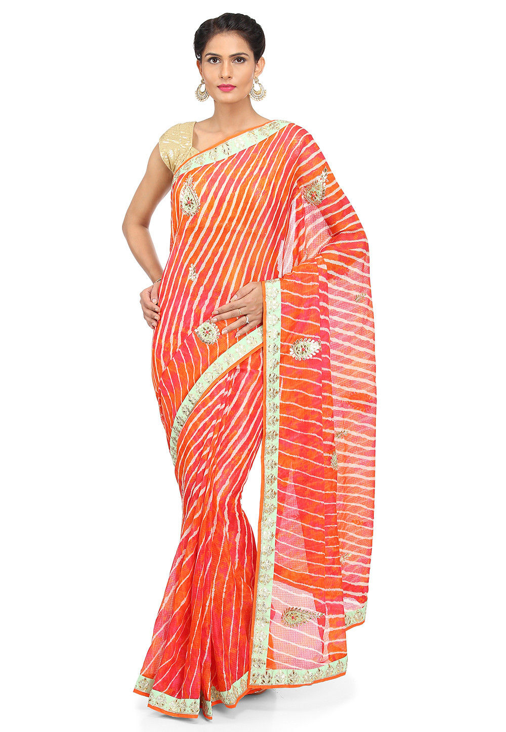 Leheriya Kota Silk Saree in Shaded Orange and Pink