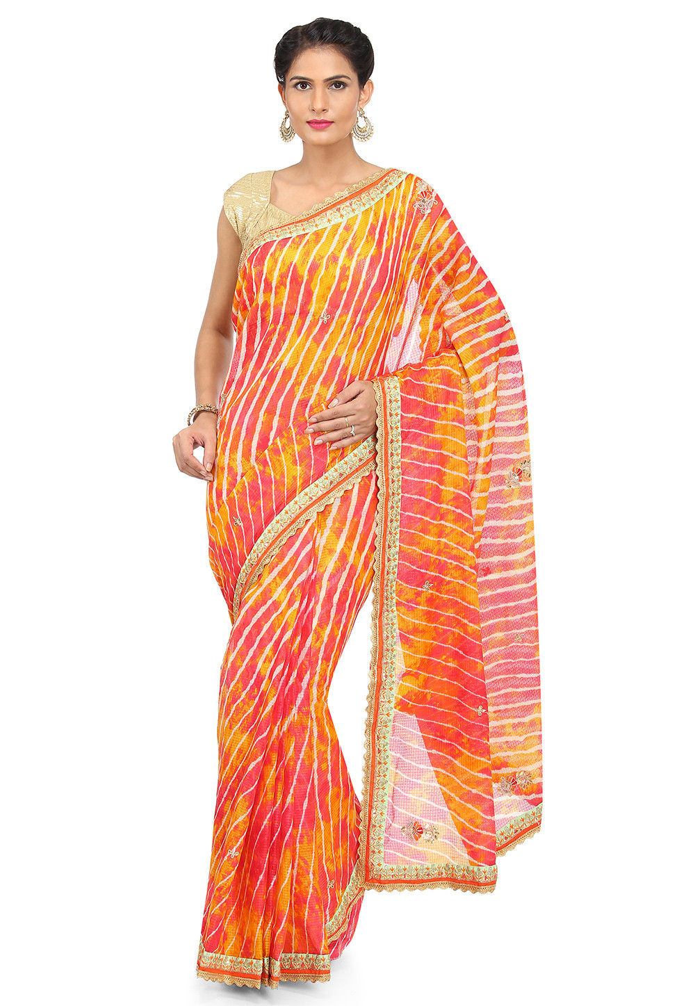 Leheriya Kota Silk Saree in Shaded Yellow and Pink
