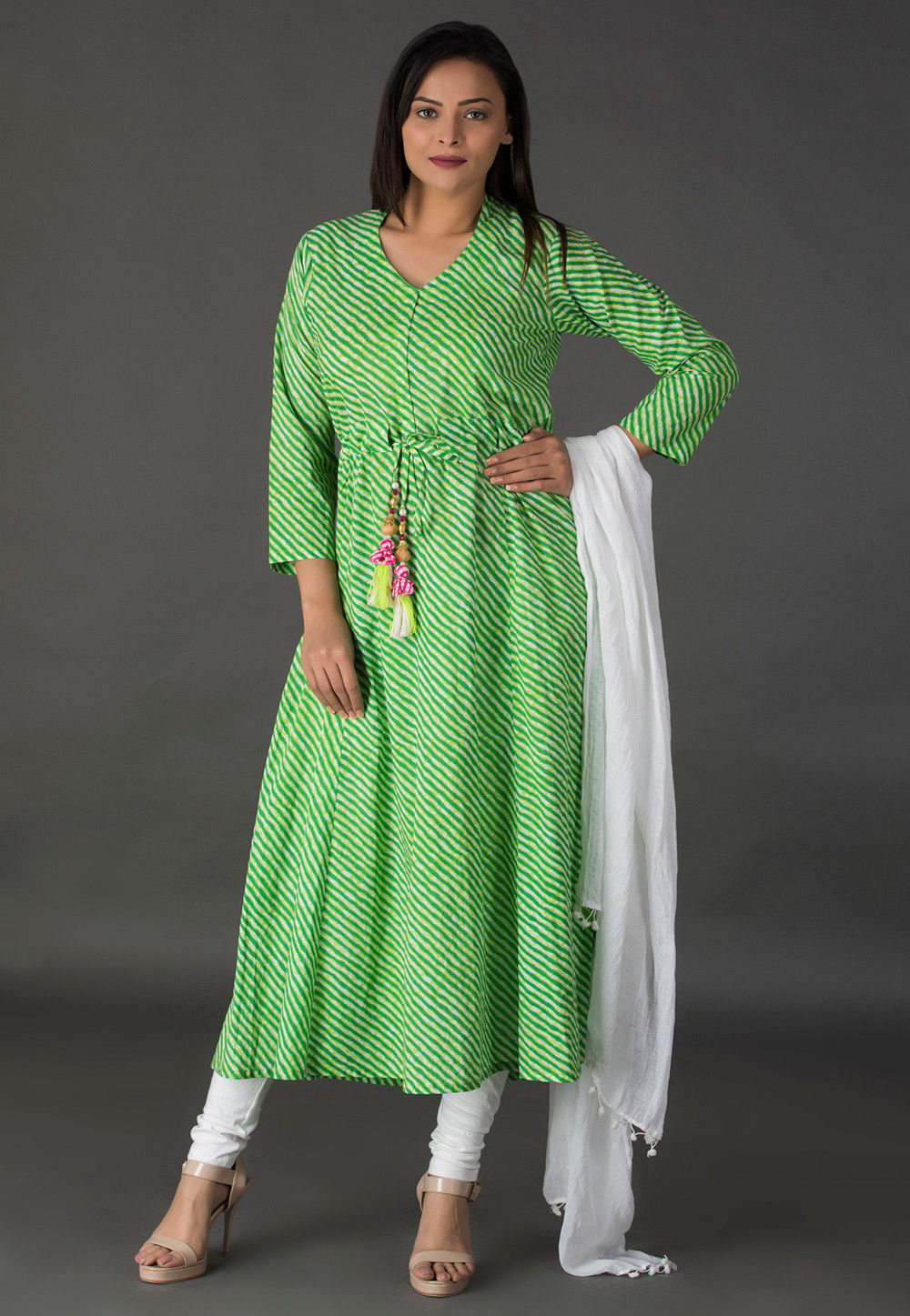 Leheriya Printed Cotton A Line Suit in Light Green