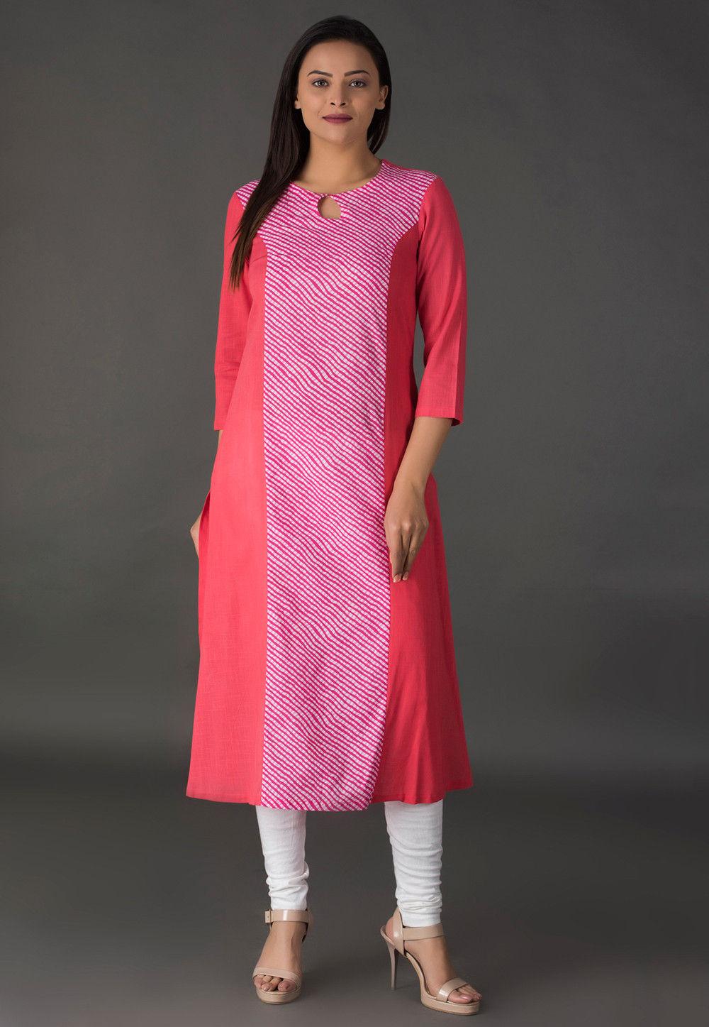Leheriya Printed Cotton Long Kurta in Pink and Peach