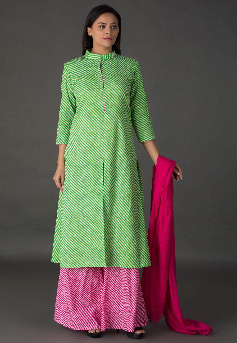 Leheriya Printed Cotton Pakistani Suit in Light Green