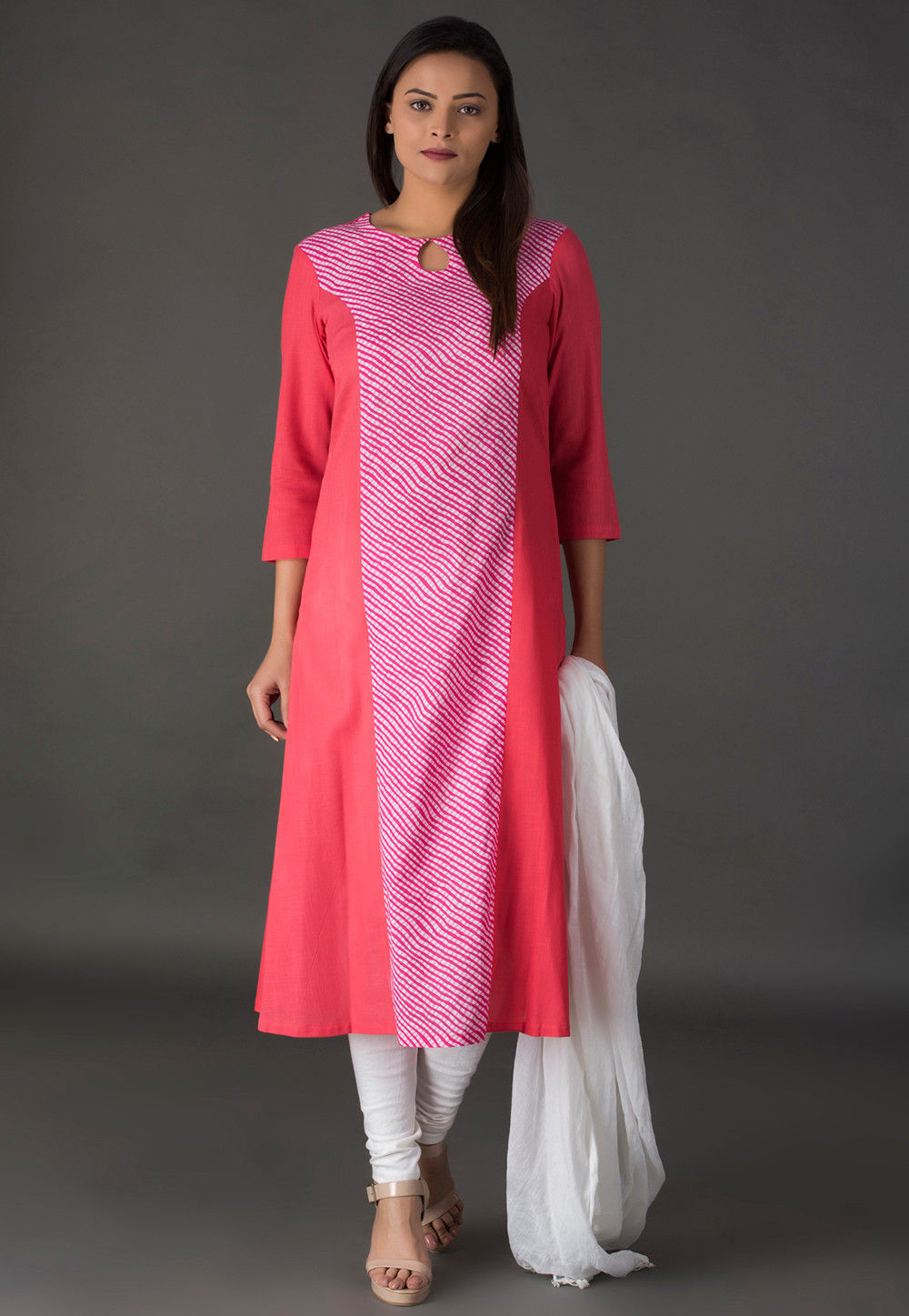 Leheriya Printed Cotton Straight Suit in Pink and Peach
