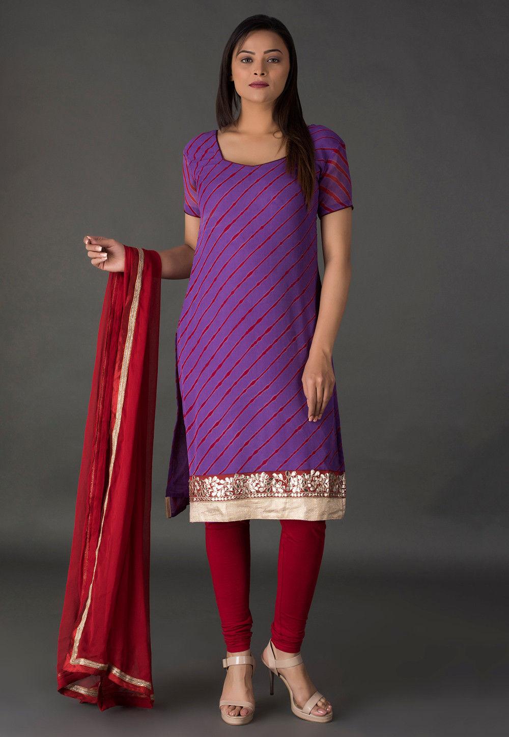 Leheriya Printed Pure Georgette Straight Suit in Purple