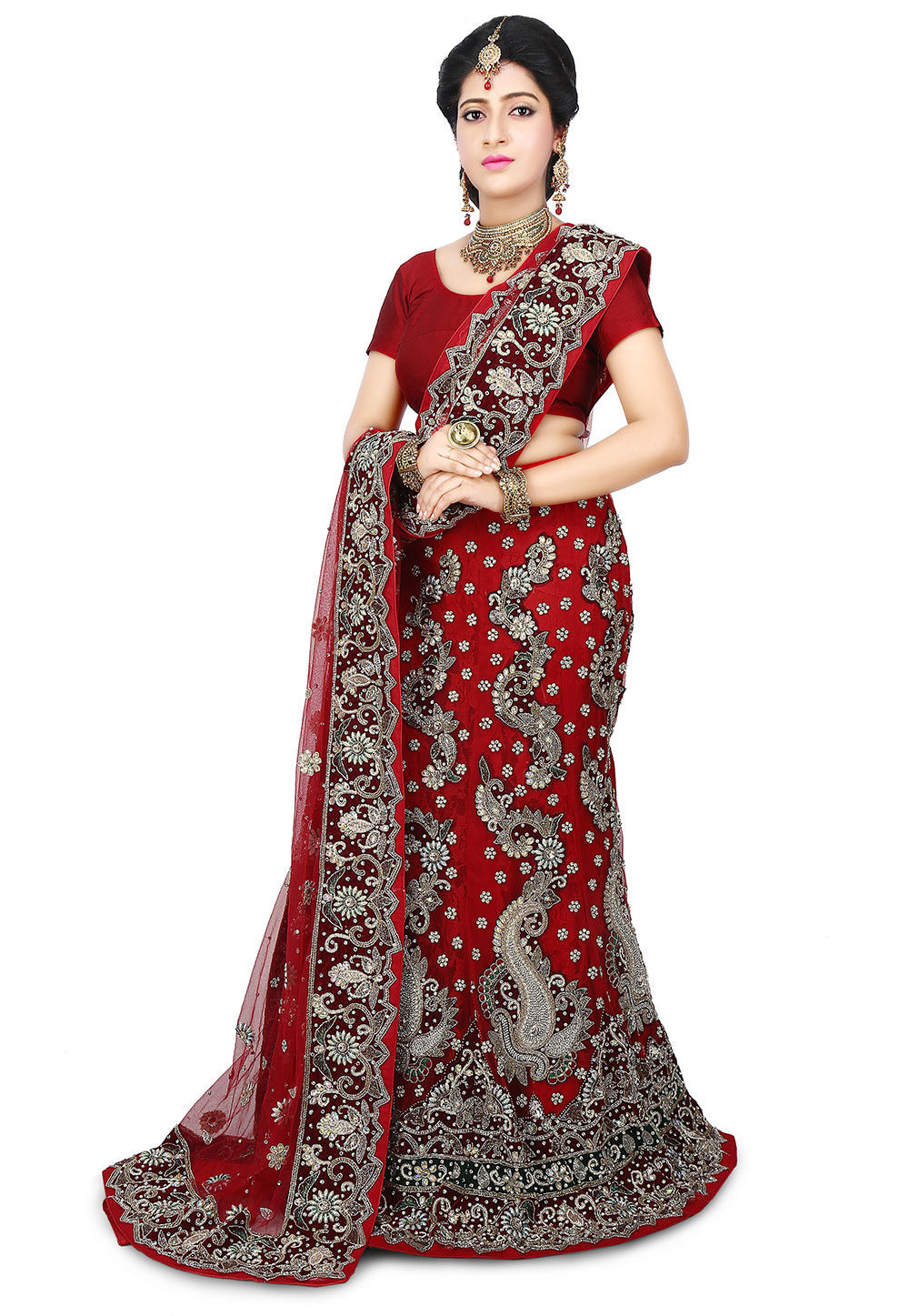 Hand Embroidered Net Mermaid Cut Lehenga in Red