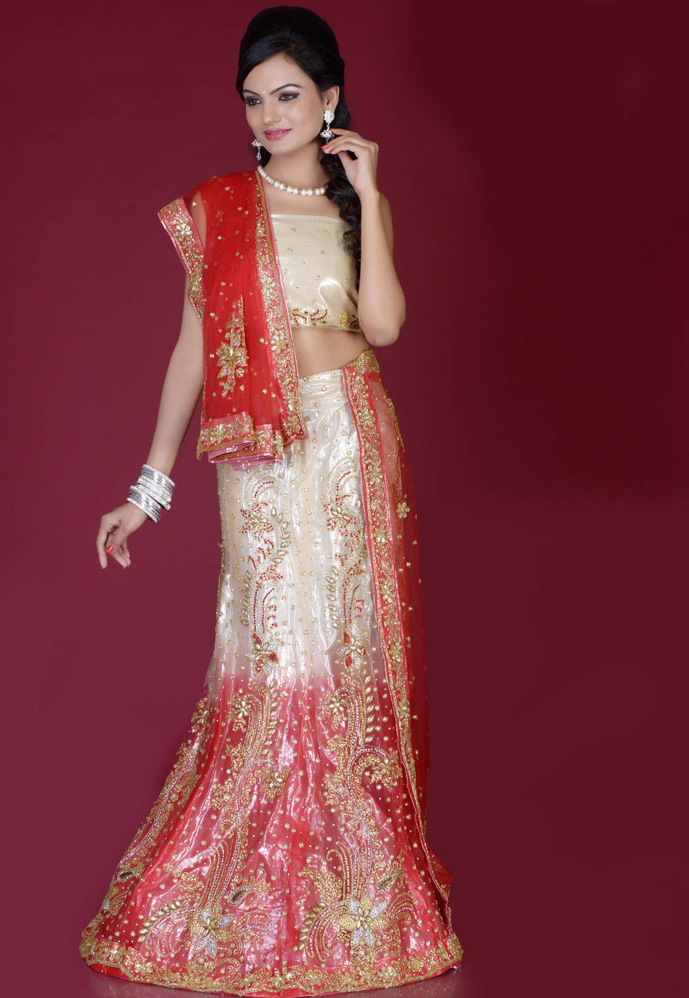 Dark Cream and Red Net Lehenga