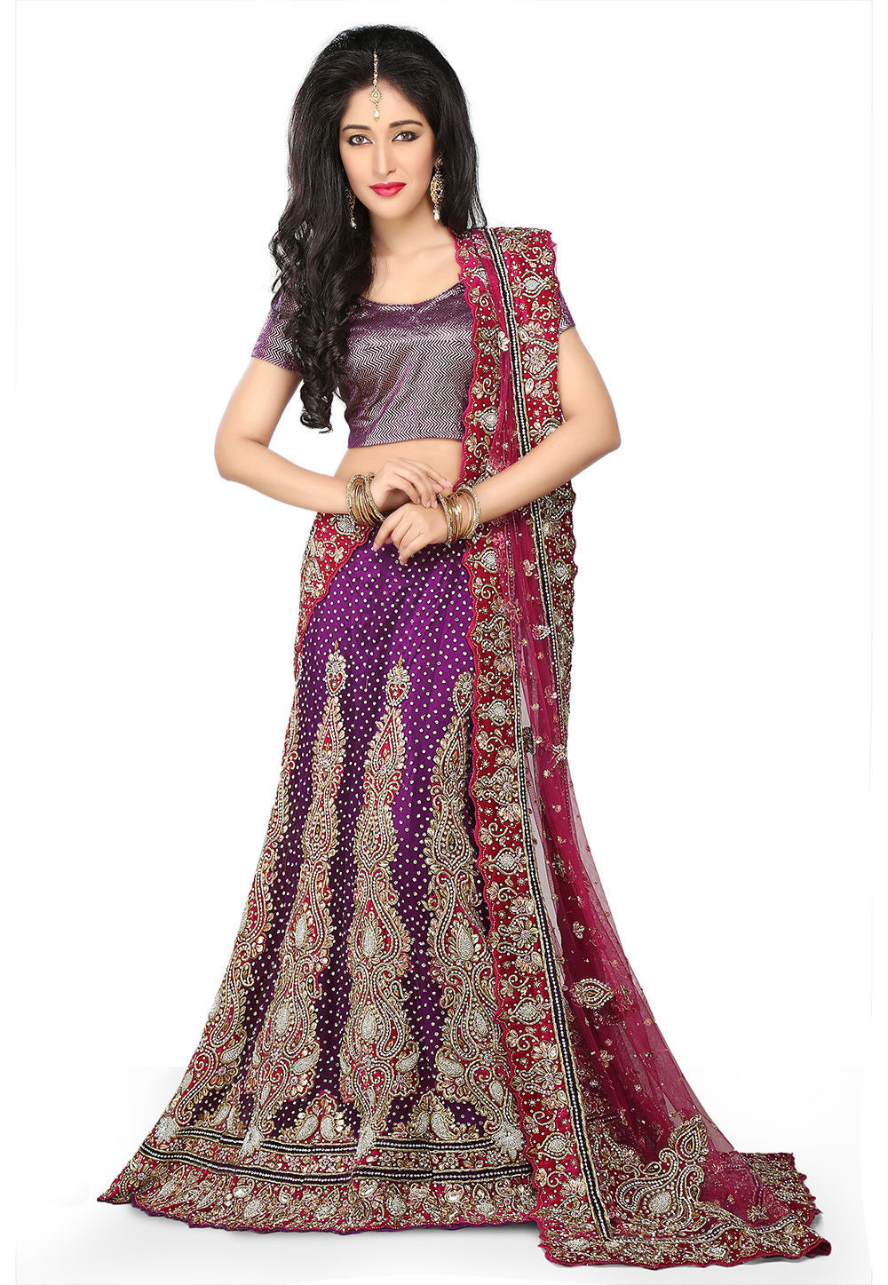 Hand Embroidered Net Lehenga in Violet