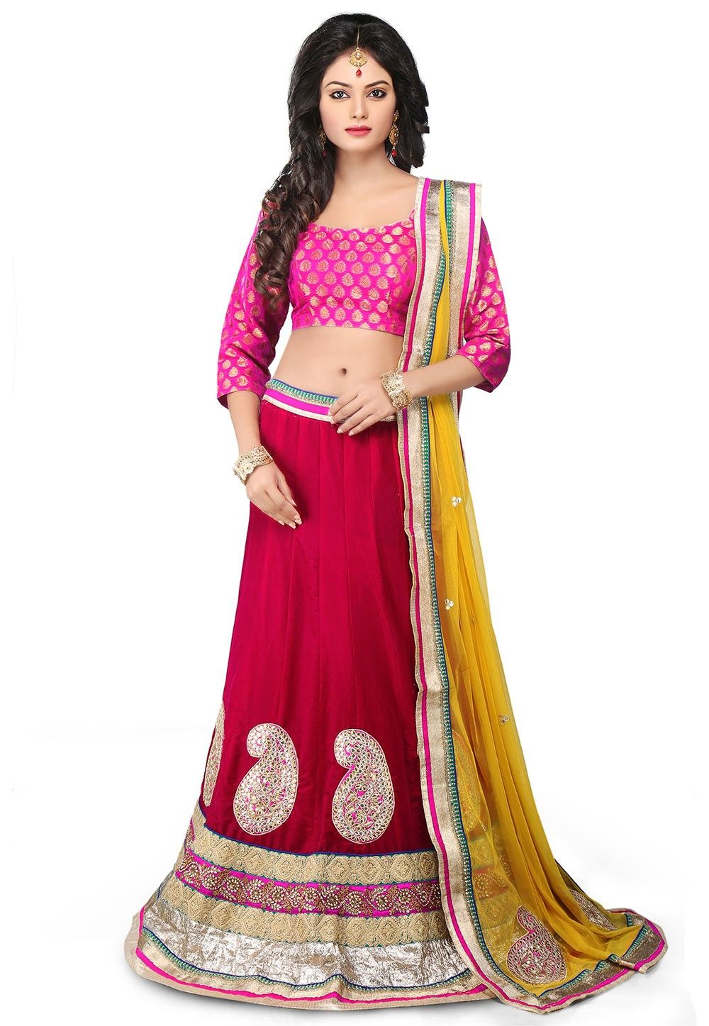 Embroidered Velvet Lehenga in Fuchsia