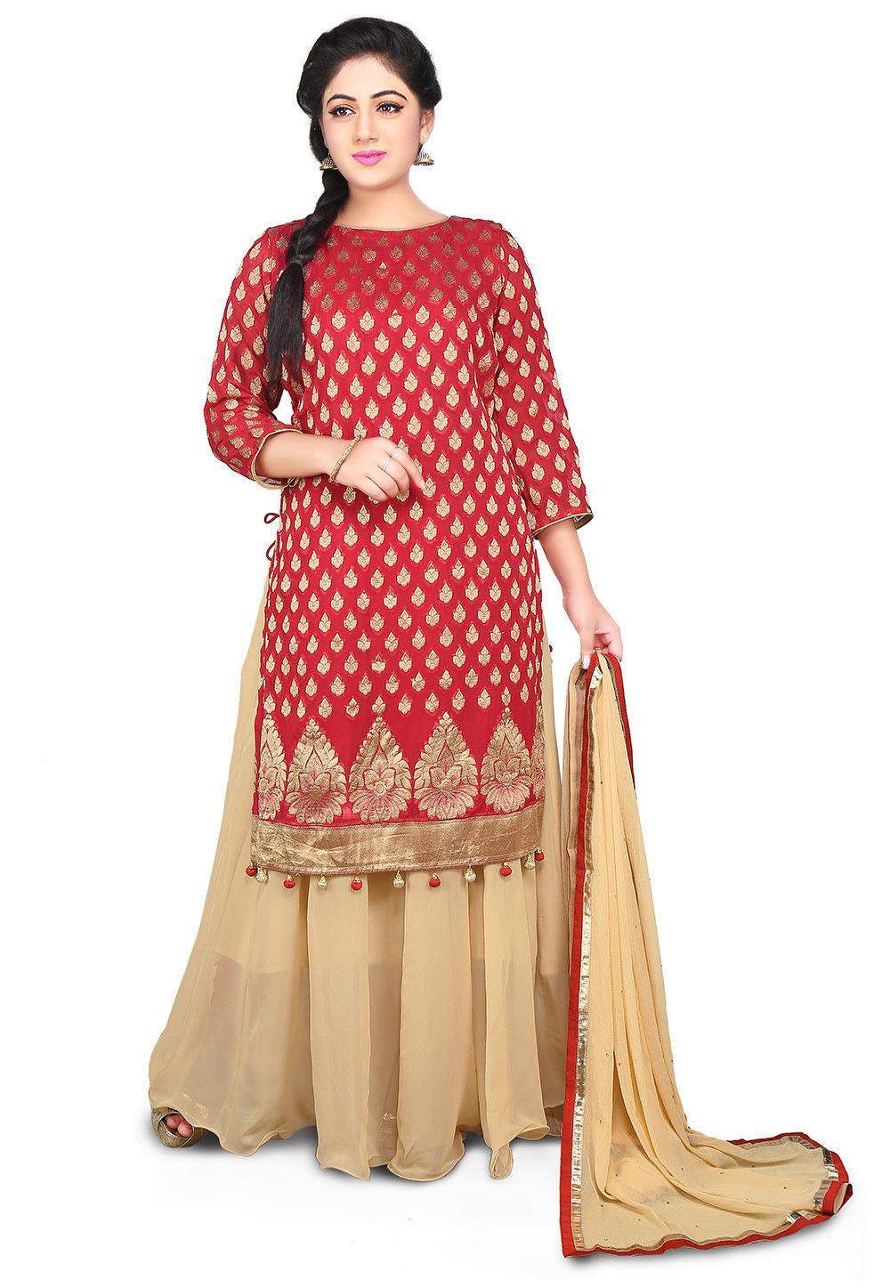 Woven Georgette Long Tunic Style Lehenga in Red