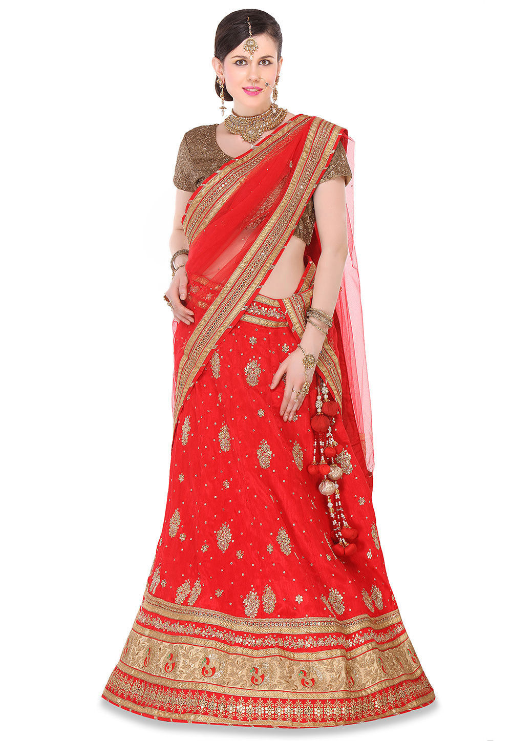 Hand Embroidered Bhagalpuri Silk Circular Lehenga in Red