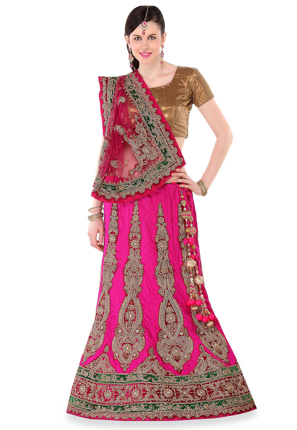 Hand Embroidered Raw Silk A Line lehenga in Fuchsia