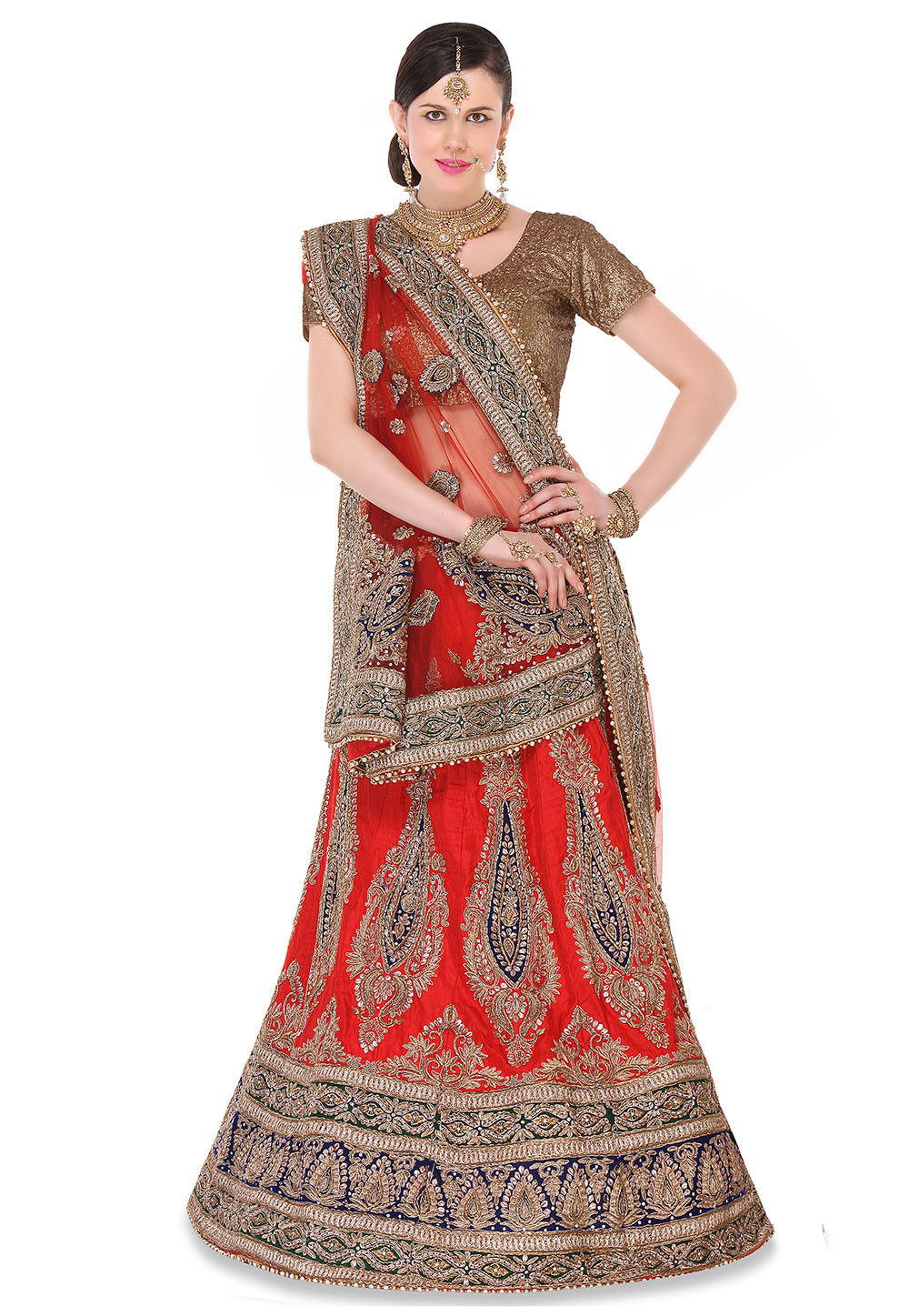 Embroidered Raw Silk A Line Lehenga in Red