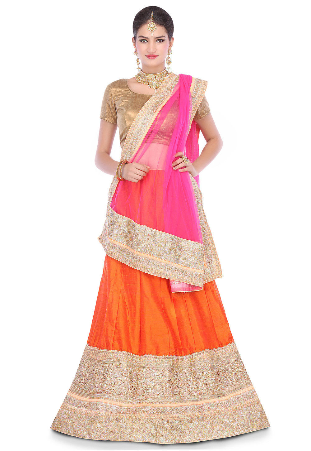 Embroidered Art Dupion Silk Lehenga in Orange