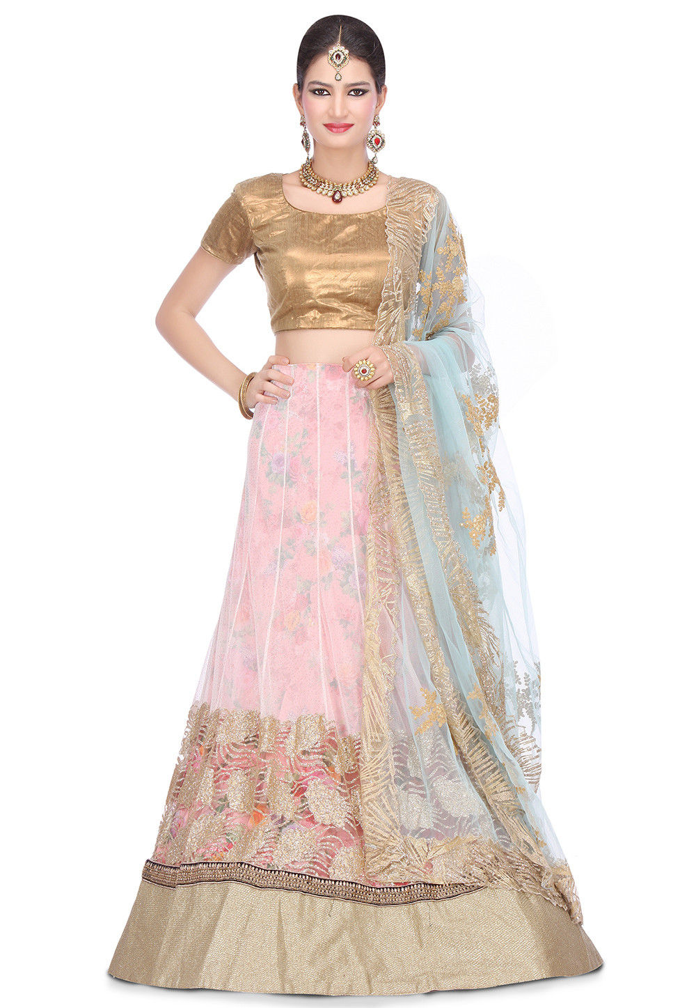 Embroidered Net A Line Lehenga in Off White