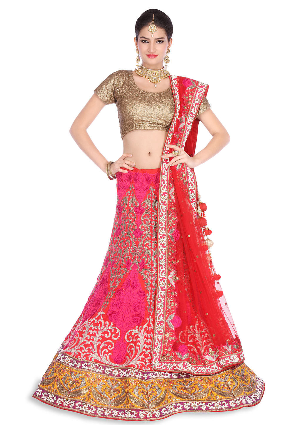 Embroidered Art Dupion Silk Lehenga in Red and Fuchsia