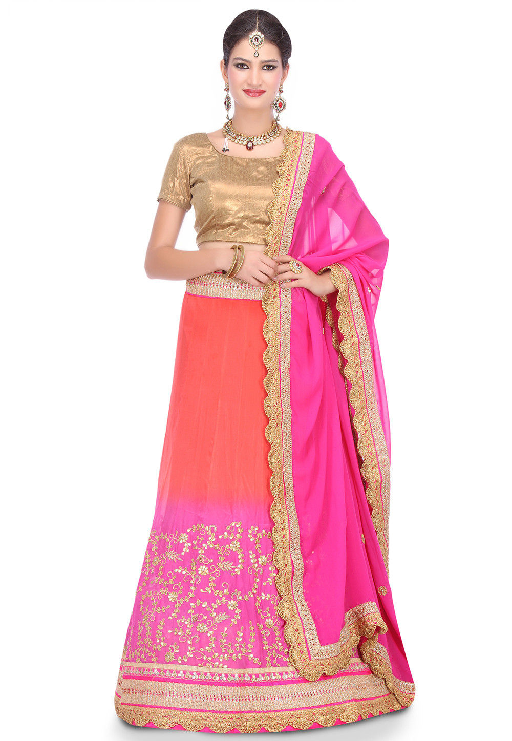 Embroidered Crepe Chinon Lehenga in Coral and Fuchsia