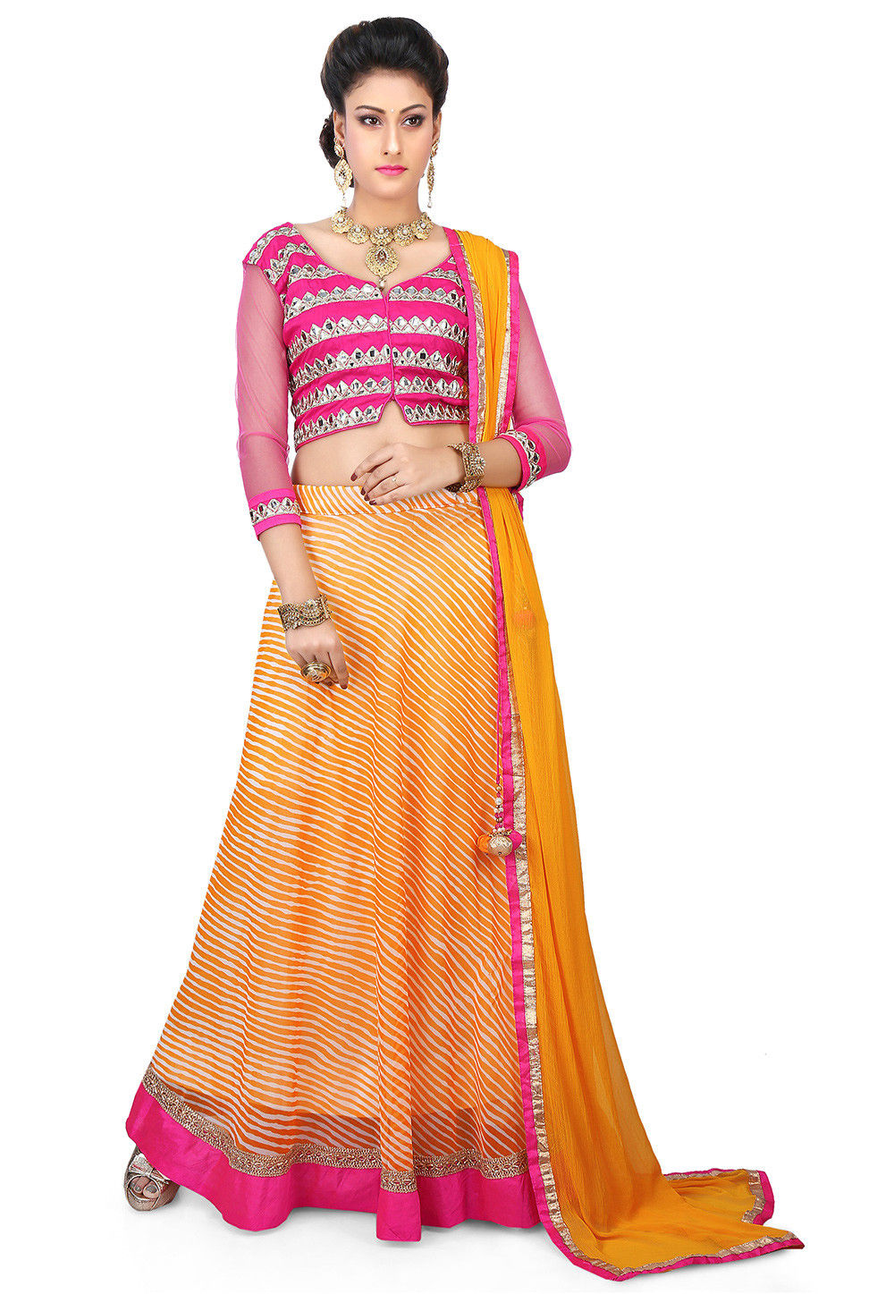 Printed Faux Georgette Circular Lehenga in Yellow