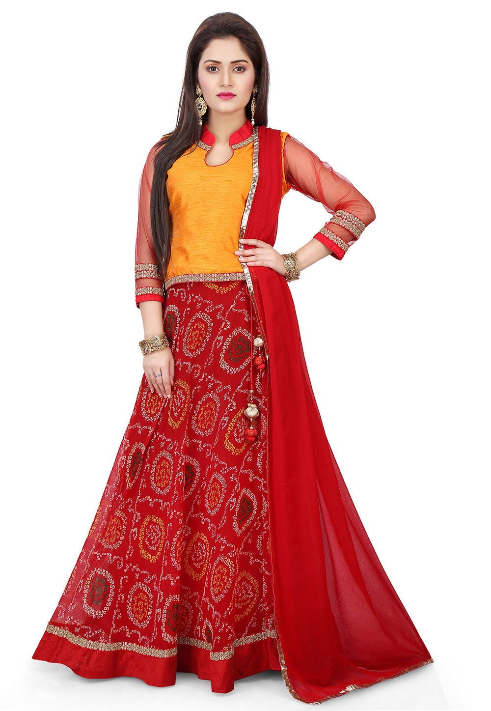 Printed Faux Georgette Circular Lehenga in Red