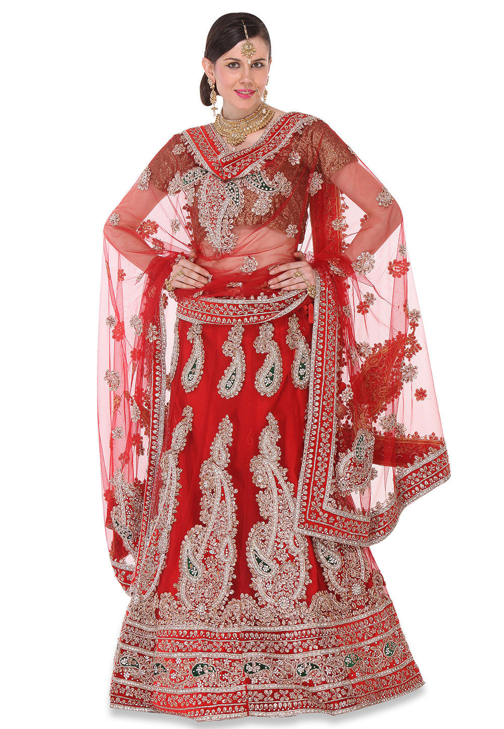 Hand Embroidered Circular Net Lehenga in Maroon