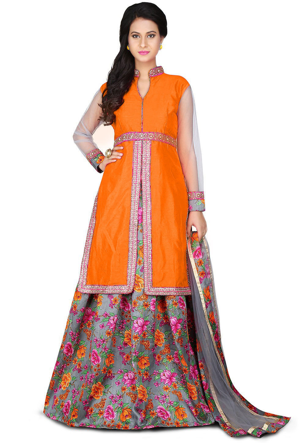 Printed Bhagalpuri Silk Lehenga in Orange and Grey