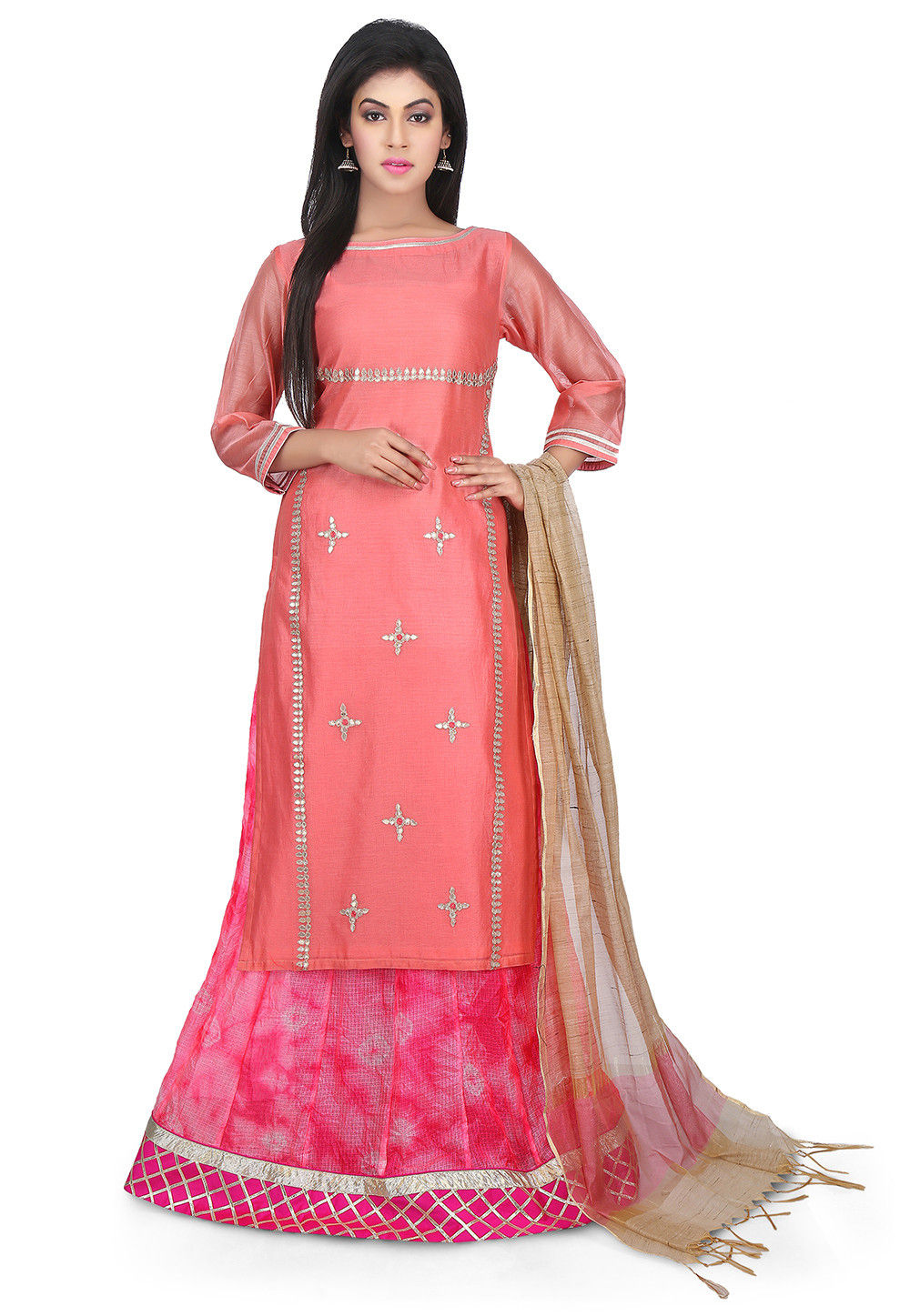 Embroidered Art Chanderi Silk Circular Lehenga in Peach and Pink