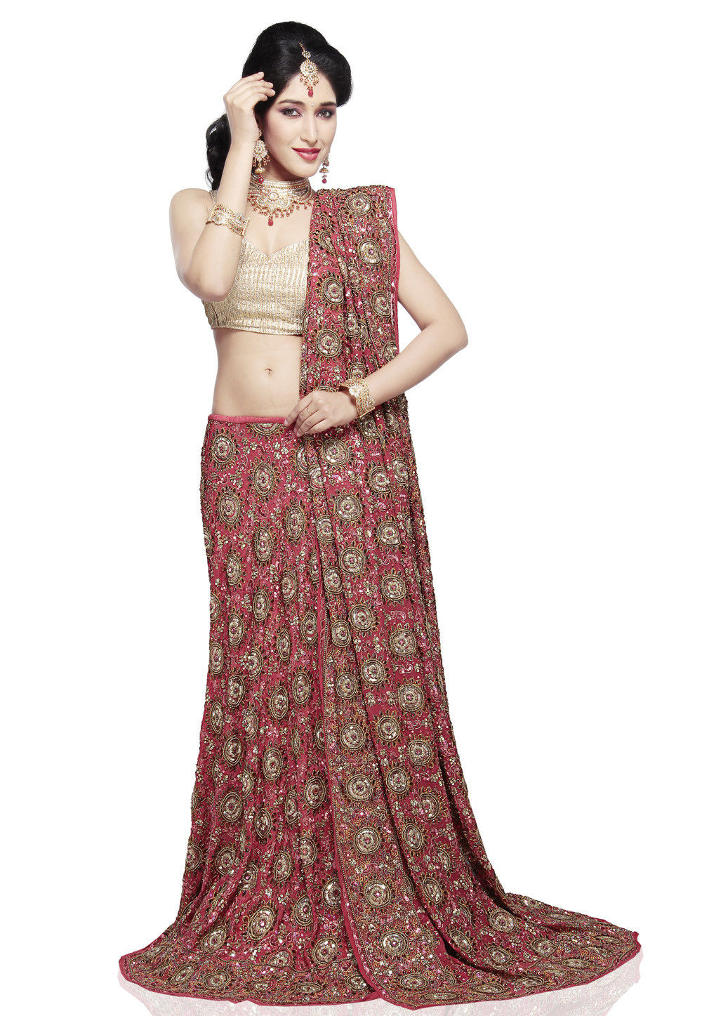 Embroidered Pure Crepe Lehenga in Coral