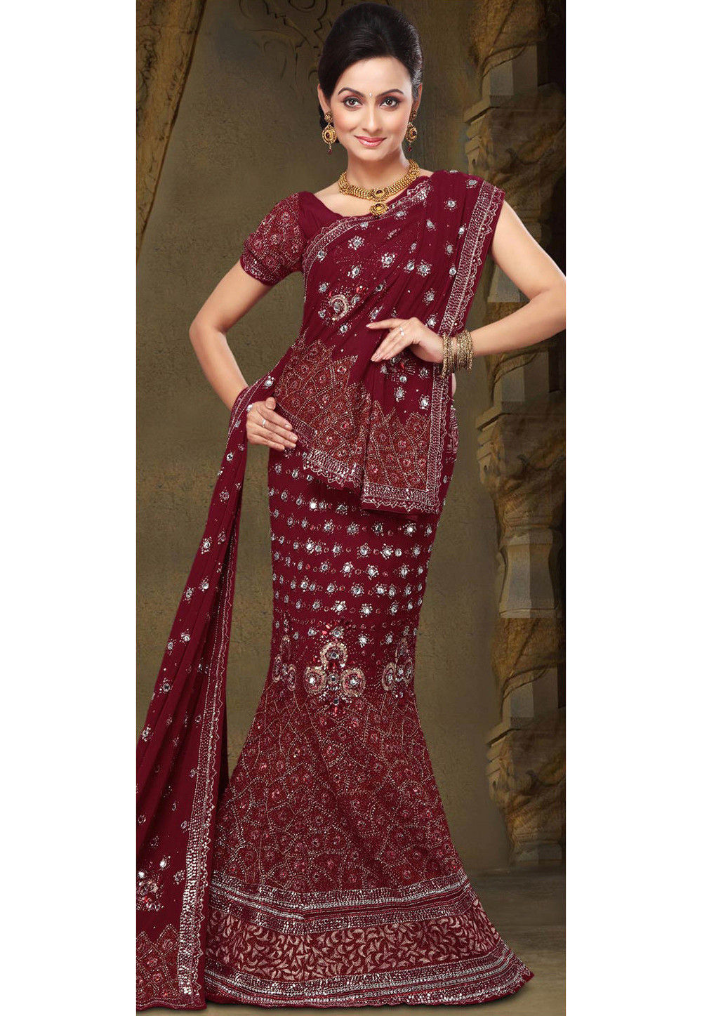 Embroidered Georgette Fish Cut Lehenga in Maroon