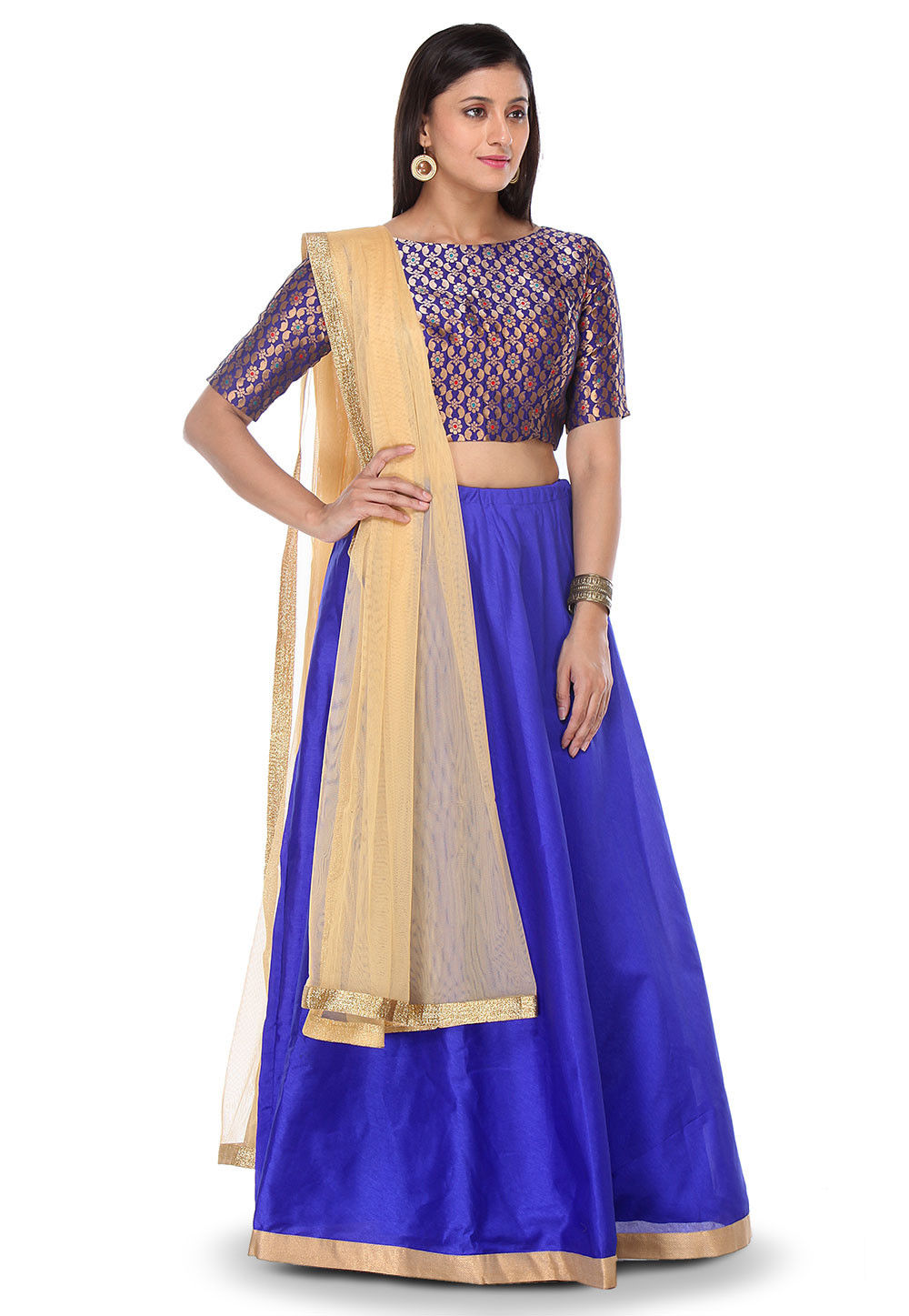 Woven Art Silk Lehenga in Royal Blue