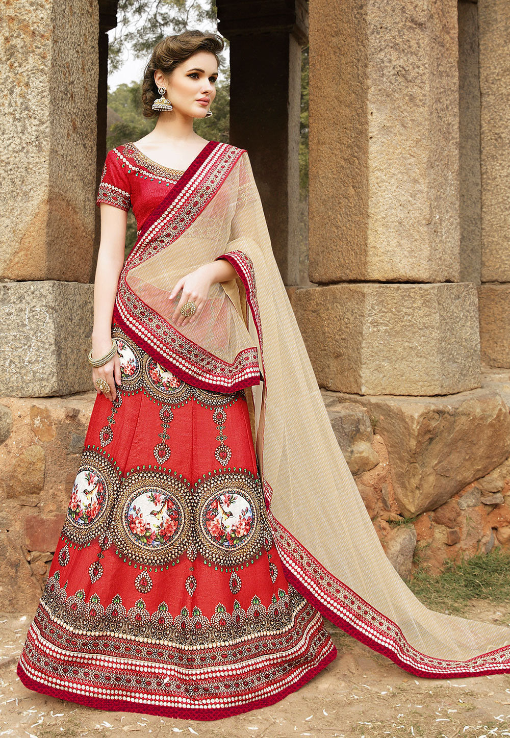 Digital Printed Art Silk Lehenga in Red