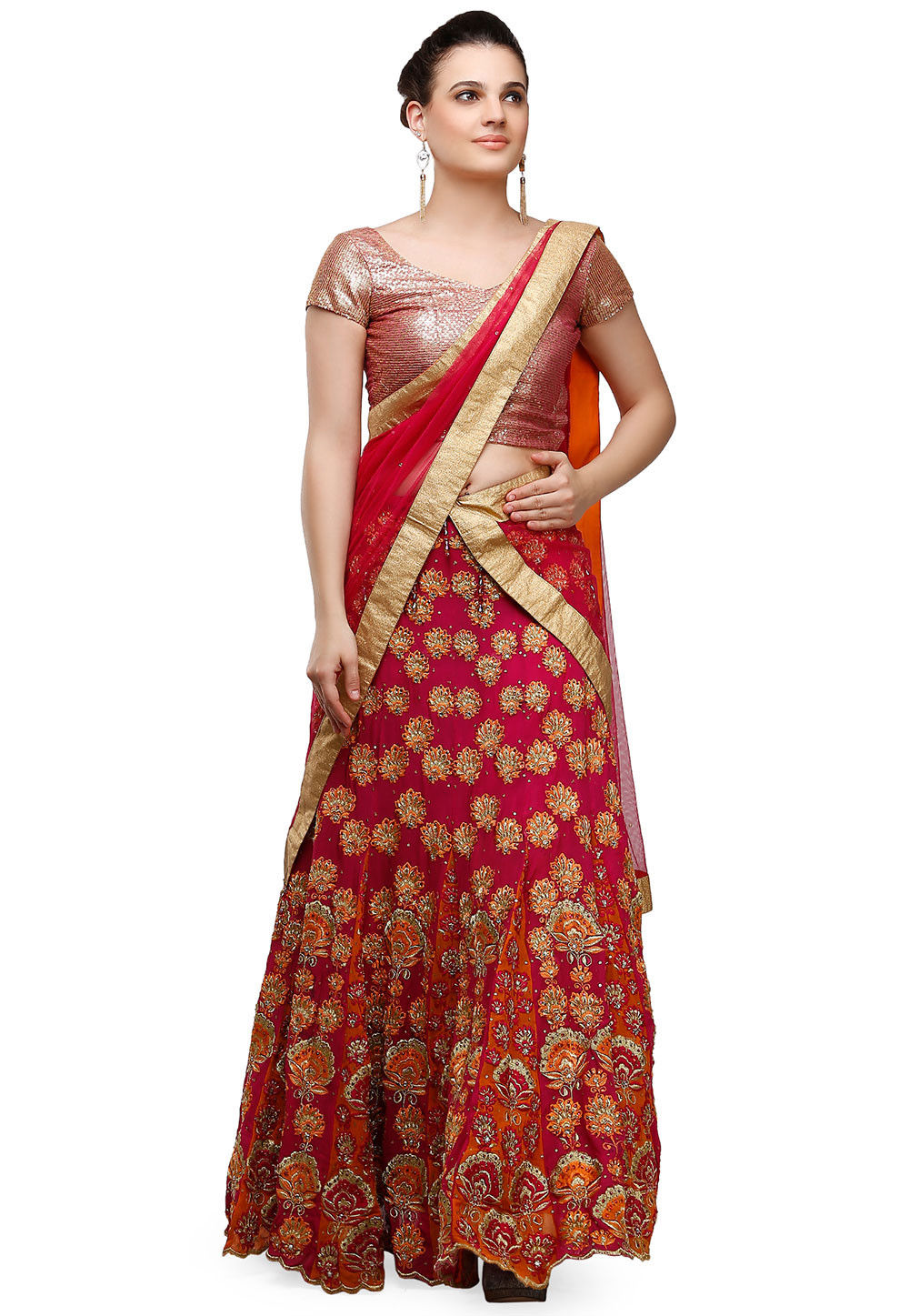 Embroidered Viscose Georgette Lehenga in Fuchsia and Orange