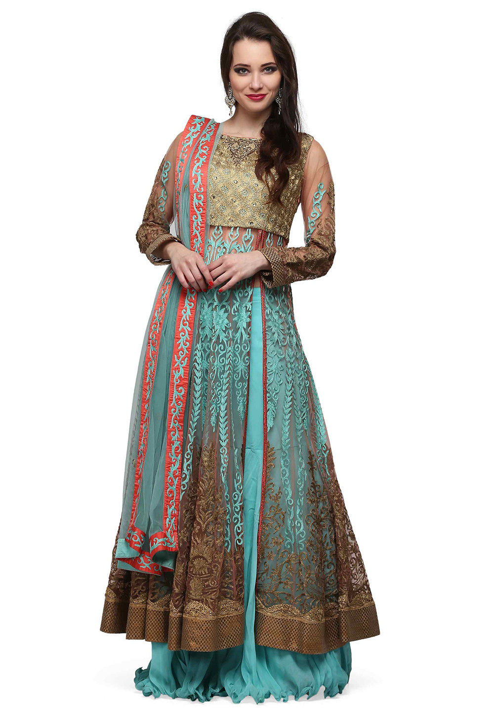 Hand Embroidered Georgette Sharara Lehenga in Sky Blue and Gold